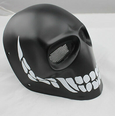 Black COOL Fiber Resin Wire Mesh Eye Airsoft Paintball Full Face Protection Mask