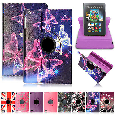 360 Rotating Stand Leather Flip Case Cover For Amazon Kindle Fire 7 8 10 5th Gen