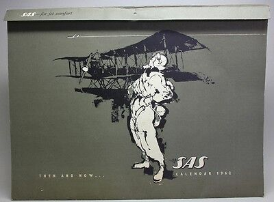 RARE 1962 SAS Scandinavian Airlines CALENDAR Airplanes Paintings by Otto Nielsen