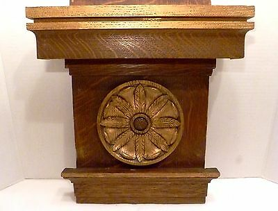 "14"" ANTIQUE Victorian Rosette TIGER OAK Wood PLINTH / CORBEL Wall Shelf PLAQUE"