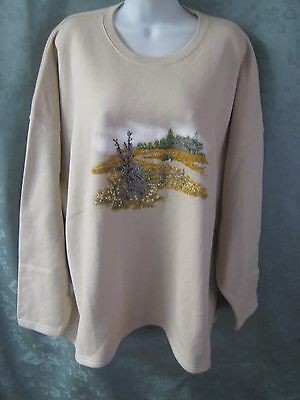 VTG Endless Design Slouch Shoulder Sweatshirt Plus Size 3X NWT Country Theme