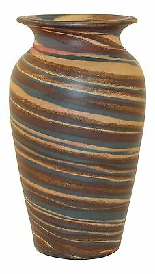 Evans Pottery Mission Swirl Classically Shaped Blue, Red and Brown Vase