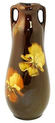 Owens Pottery Utopian Yellow And Orange Pansy Vase Shape 1282 (Fouts)