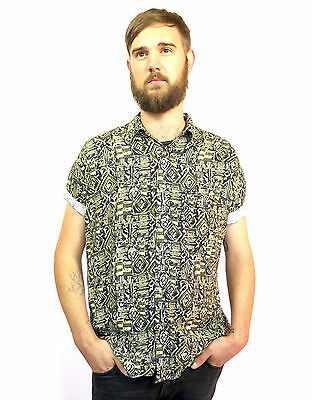 Mens Vintage Shirt Button-up Geometric Print 80's 90's