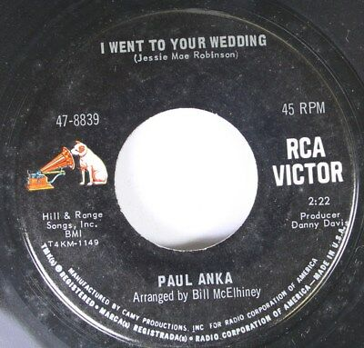 50'S & 60'S 45 Paul Anka - I Went To Your Wedding / I Wish On Rca Victor