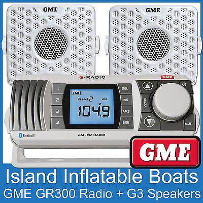 Gme Gr300 Am Fm Vhf Marine Radio Receiver + 2 Gme Speakers  White Boat Gr300Wep