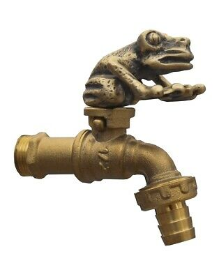 Brass Garden Tap Faucet SMALL FROG Spigot Vintage Yard Water Home Outdoor Decor
