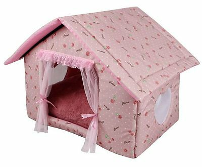 New Indoor Princess Cherry Curtain Pet Dog Cat House Beds Raised Tent M,L 3color