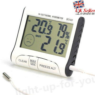 Digital LCD In/Outdoor Thermometer Humidity Meter Hygrometer + Probe Sensor UK