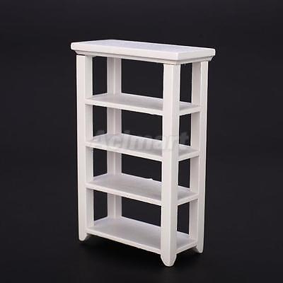 1/12 Scale Dollhouse Miniature Furniture White Wooden Utility Shelf Rack