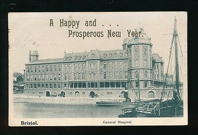 Gloucestershire BRISTOL General Hospital Used 1907 PPC New Year Greetings