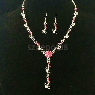 Wedding Women Fashion Pink Rhinestone Necklace Crystal Earrings Jewelry Set