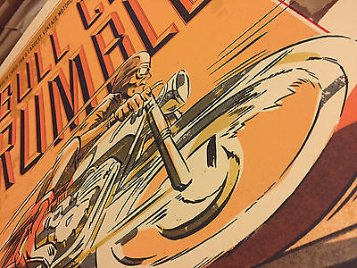 Screen-Printed Vintage Motorcycle Poster Ace Cafe Racer Triumph BSA Norton TonUp