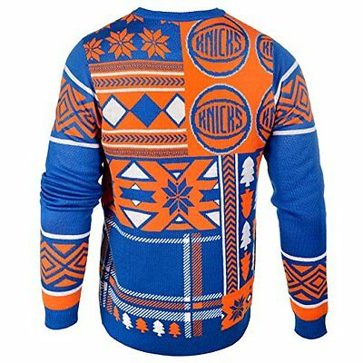 NBA New York Knicks Patches Ugly Sweater, Blue, Small