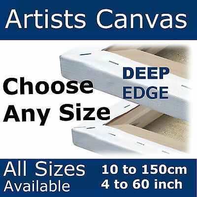 Deep Edge Canvases * LARGE * 38mm  Stretched Blank Plain Gesso Primed Artists
