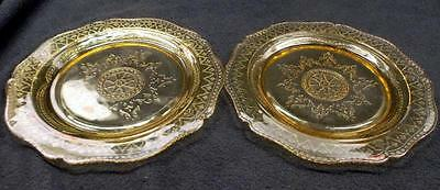 2 Federal Glass 'Patrician' / 'Spoke' Amber Dinner Plates - No Reserve