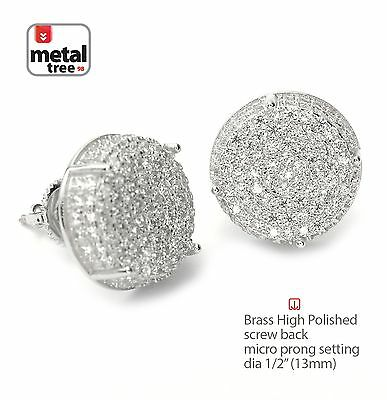Men's Iced Hip Hop Rh Plated XL Round Screw Back Stud Earrings BE 11403 S