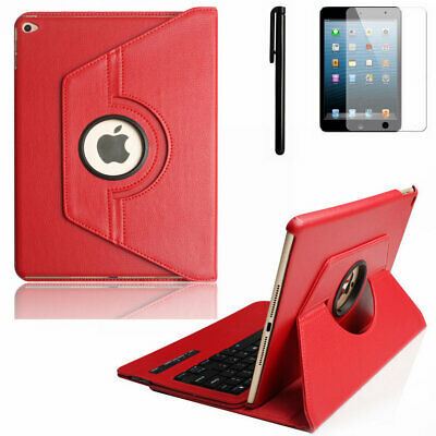 For Apple iPad Air 2 6 Rotating Stand Leather Case Cover With Bluetooth Keyboard
