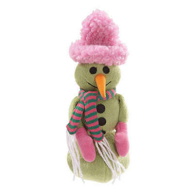 Grriggles SNOW FLIRT Plush Snowman Dog Toy Green Pink Hat Scarf Carrot Squeaker