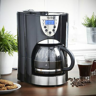 Digital Coffee Maker Machine With Grinder 1.5L Programmable 10-12 Cup Kitchen