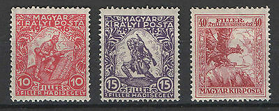 Hungary 1916. War assistant complete set Michel: 183-185 MNH (**)