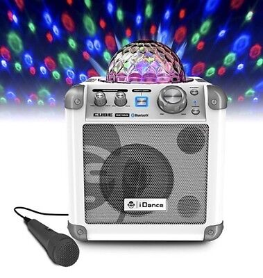 iDance Bluetooth Karaoke System With Built In Light Show With 2 Microphone White
