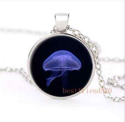 Beautiful Jellyfish Cabochon Glass Silver Plating Necklace Woman Jewelry