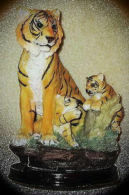 "Beautiful Mother Tiger W/2 Cubs, Approx- 7"" Around & 9"" Tall, Highly Detailed!!!"