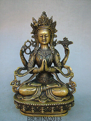 """8.4""""Old Antique Chinese Ancient Collection Brass Bronze Tibet Buddha Statue"""