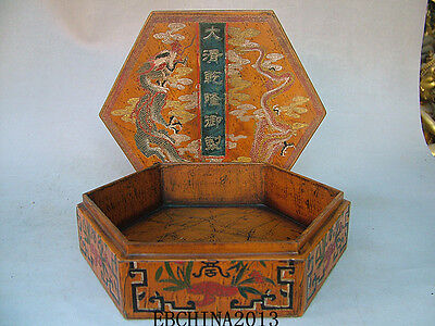 "8.6""Old Antique Chinese Ancient Boxwood Lacquer Dragon Painting Jewelry Box"
