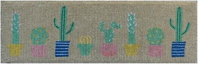 100% COIR Doormat Door Mat TOP Quality LONG 120 x 40 Cactus Cacti Pastel Colours