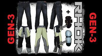 RHOK Motorcycle Jeans with GEN 3 Liner and hard shell CE armor FREE SHIPPING!!