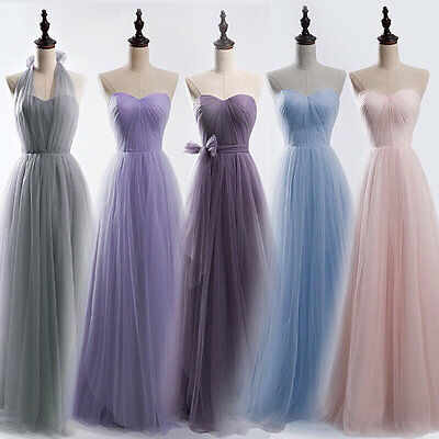 Long Tulle Bridesmaid Formal Gown Ball Party Cocktail Prom Convertible Dress