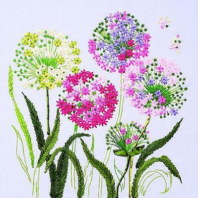 Ribbon Embroidery Kit Wild Dandelion Taraxacum Needlework Craft Kit RE2013
