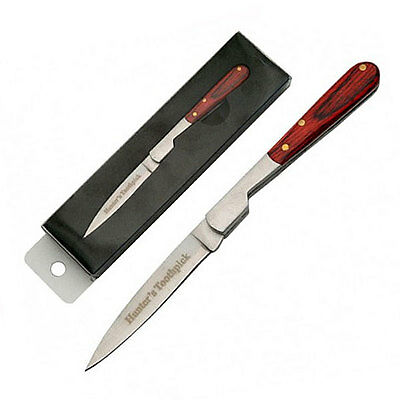 Hunter Toothpick Folding Blade Steel Knives Wood Collectable Gift Deco 7cm