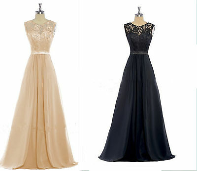 Long Lace Bridesmaid Formal Maxi Dress Party Evening Prom Ball Gown &Plus Size