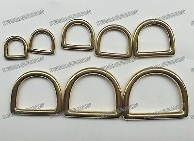 Solid Brass Hardware D-Ring buckle Saddle Case Bag Leathercraft 13mm-50mm Pick