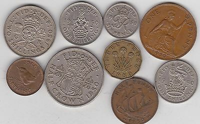 1950 George Vi Set Of 9 Coins In Good Fine Or Better Condition