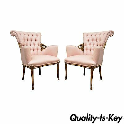 Pair of Vintage French Style Hollywood Regency Tufted Fireside Lounge Arm Chairs