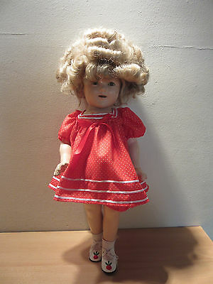 """Vintage 1930s Ideal Shirley Temple Composition Doll 18"""""""