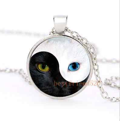 Ying&Yang Cat Eye Cabochon Glass Silver Plating Necklace Men Woman Jewelry