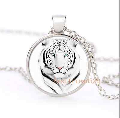 Siberian White Tiger Cabochon Glass Silver Necklace Men Woman Jewelry