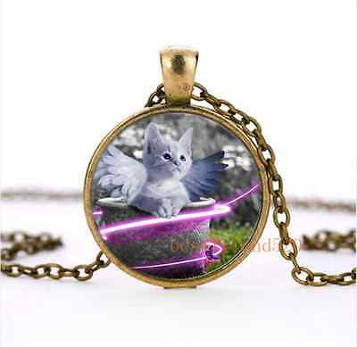 Vintage Cute Angel Cat Cabochon Glass Bronze Necklace Men Woman Jewelry
