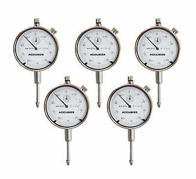5 ps of 0-1'' x 0.001'' Dial Indicators, Brand New, Accusize Tools, #P900-S102x5