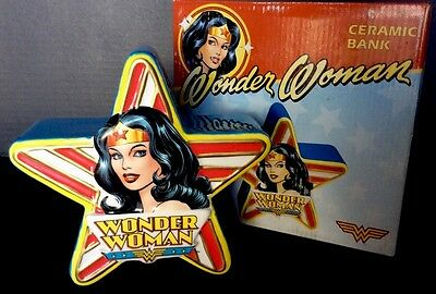 Wonder Woman Ceramic Star Shaped Bank by Vandor- New In Box Super Nice!