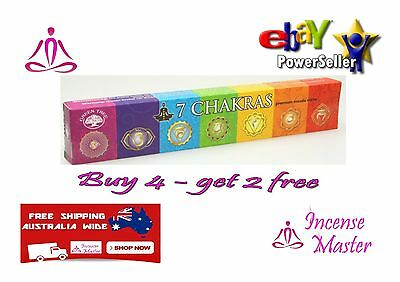 7 CHAKRA  Incense Stick- 15g X 1pack YOGA + FREE SAMPLES- GREEN TREE