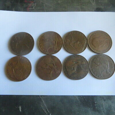 8  x 1  one penny 1913 à 1936  Georges V    G B
