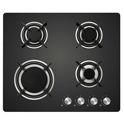 Cookology Gas-on-Glass Hob GGH600BK | 60cm Built-in, Black Glass & Auto Ignition
