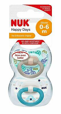 BPA Free 2 Count NUK Happy Days Baby Dummies Bike//Car 6-18 Months Silicone