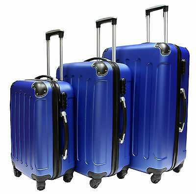 BLUE Hard Shell 4 Wheel Suitcase Spinner Luggage Case Trolley Cabin Carry On